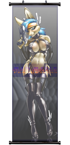 Gun Bunny - pretty with a pistol - by Jeremy Bernal - Wall Scroll