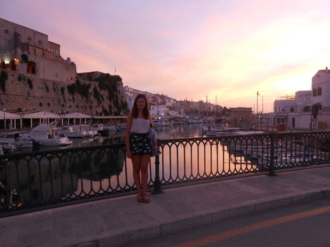 Amelia Evans blogger in Menorca for Kitten Beachwear
