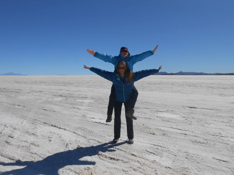 Amelia Evans on Salt Flats in Bolivia for Kitten Beachwear