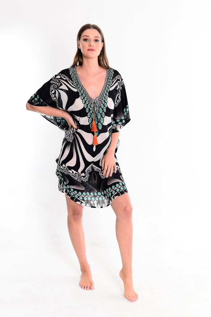 Paola Monochrome Deep V Neck Kaftan with Long Sleeves