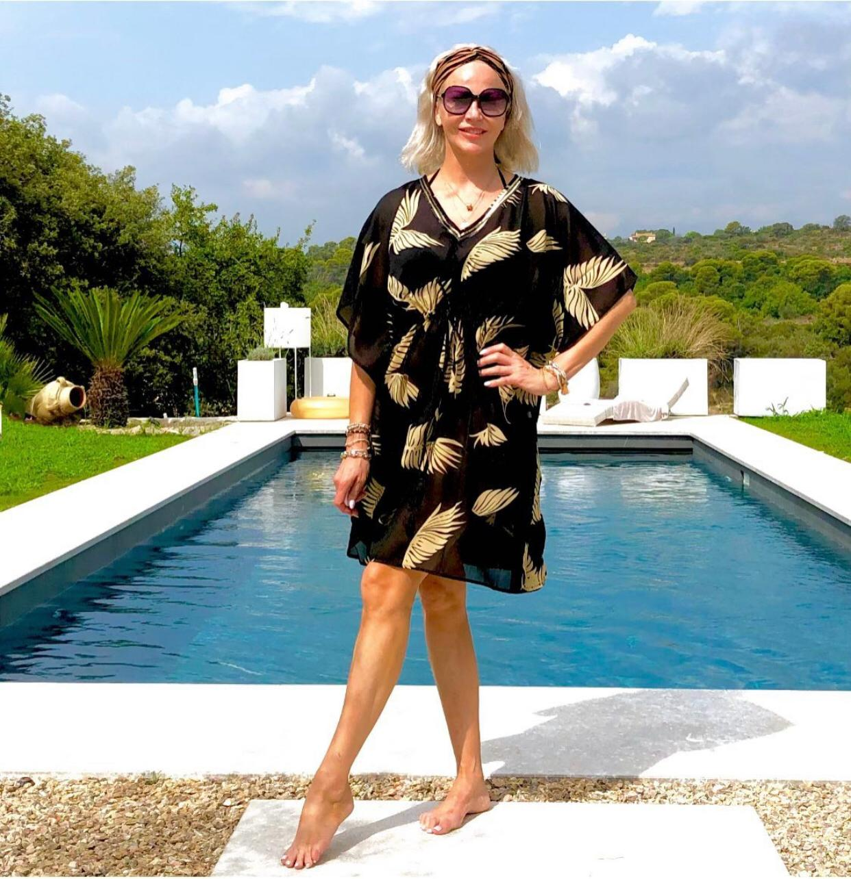 Sarmora Kaftan in Black and Gold Parlor Palm Print