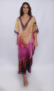 Silk Maxi Kaftan Kitten Beachwear