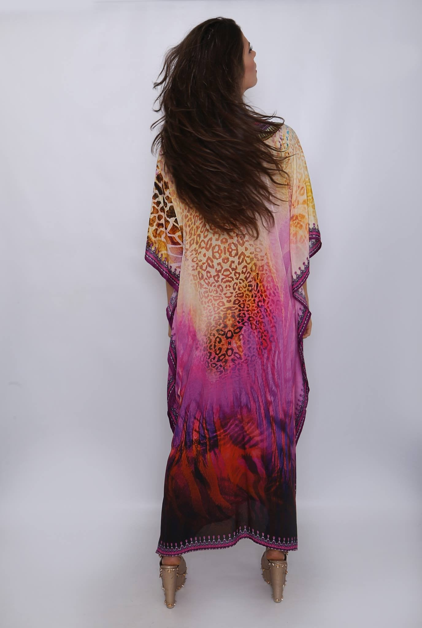 Silk full length Swarovski kaftan Kitten Beachwear