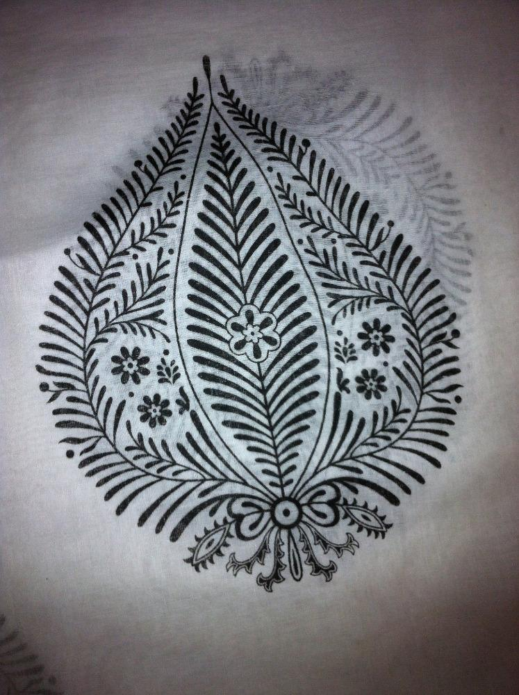 White with Black Leaf Sarong