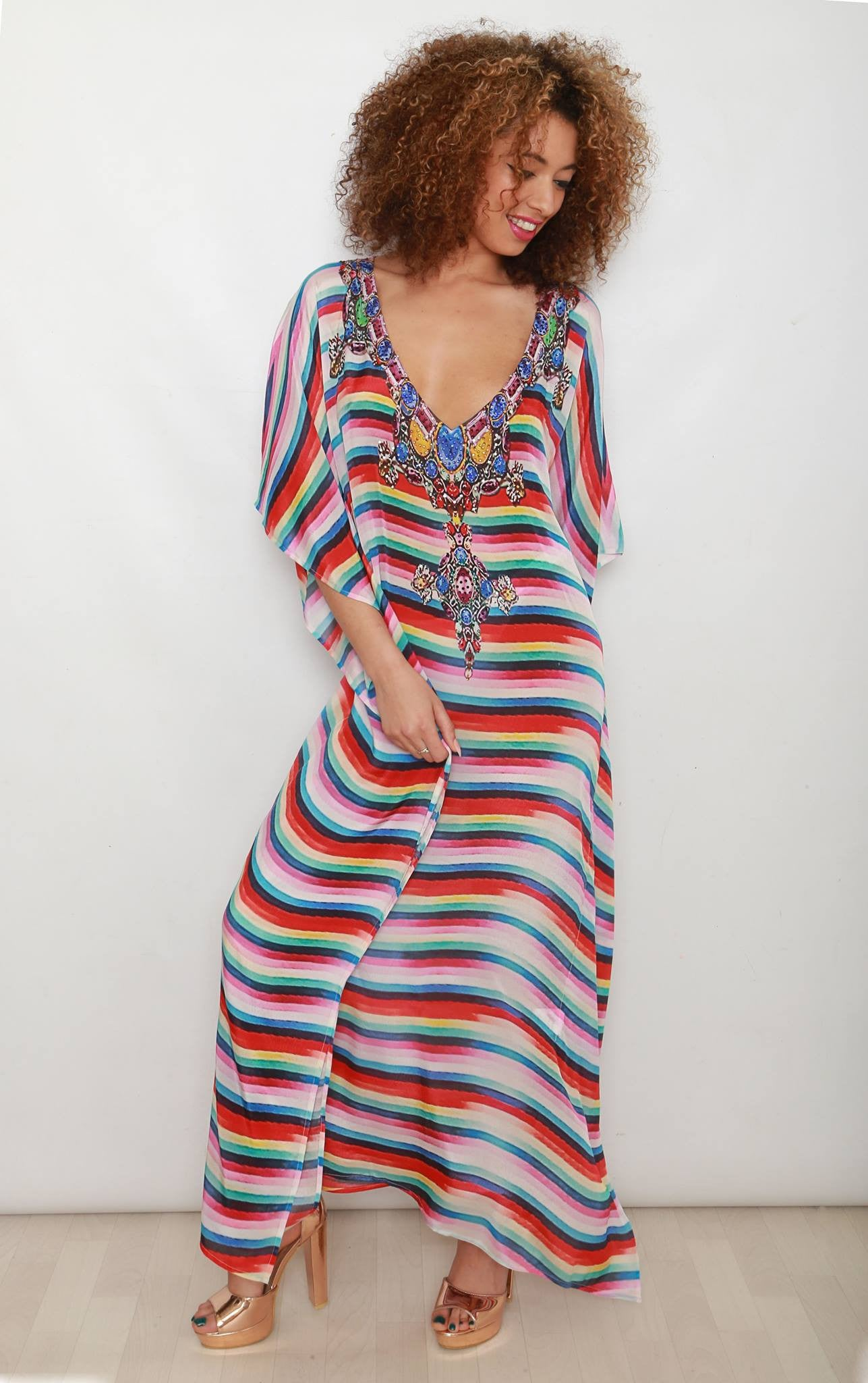 Valentina Maxi Kaftan in Stripes