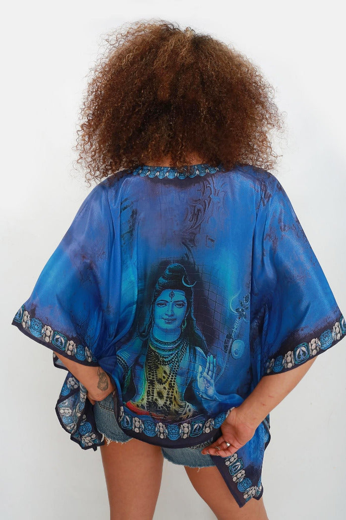Lord Shiva Kaftan Top in Blue