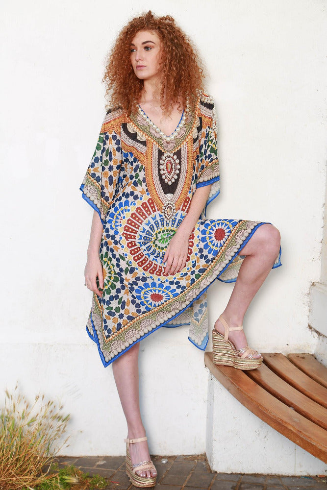 Zoie Multi Print Kaftan with sleeves