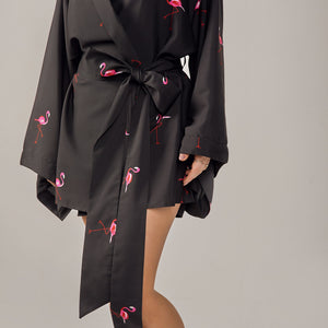 Kitten Beachwear Rin Japanese Kimono in Flamingo
