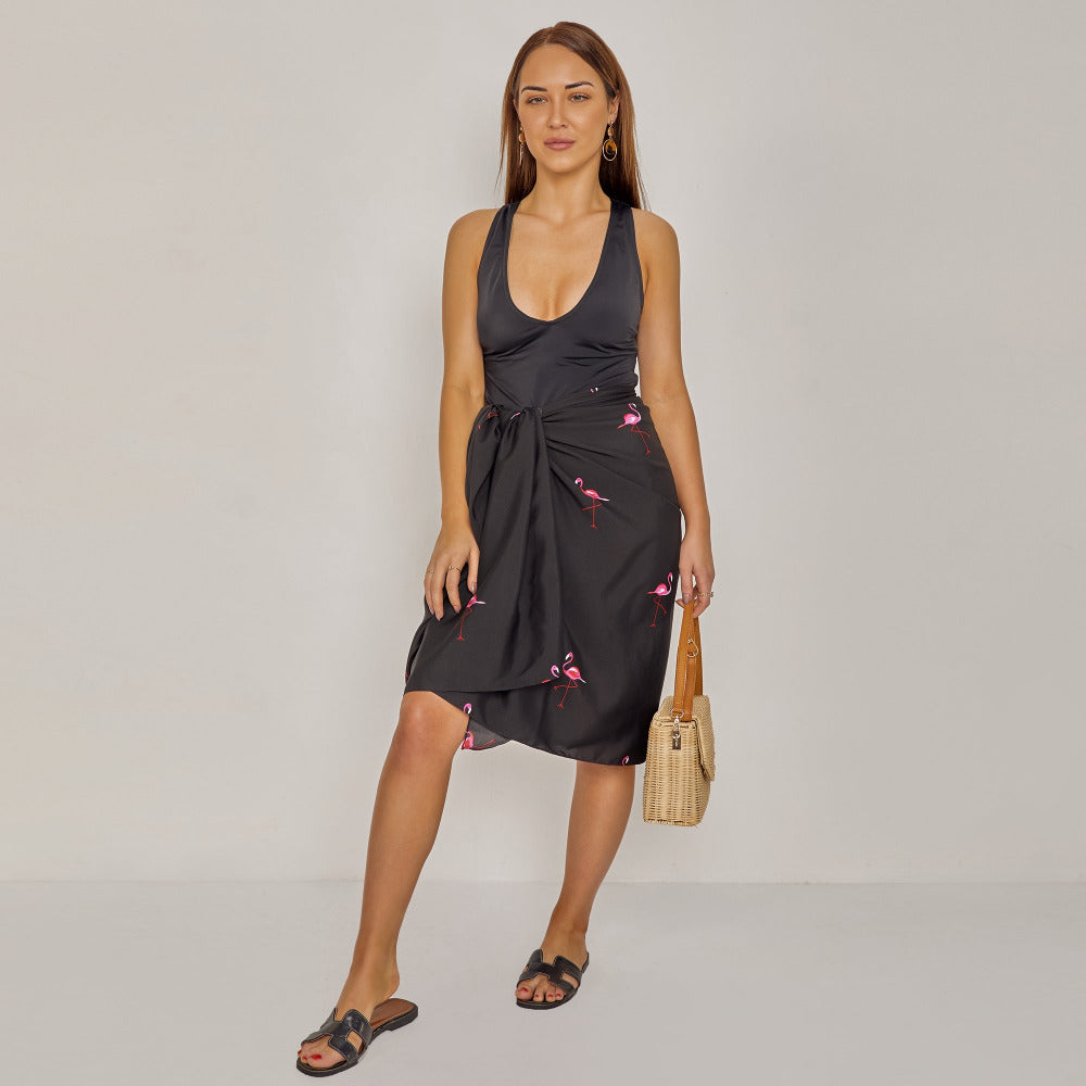 Black Sarong in Flamingo