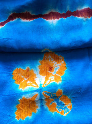 Turquoise, Orange & red 100% Silk Tie Dye