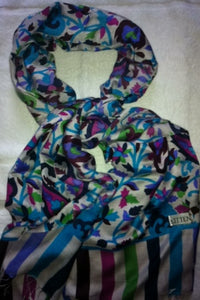 Kitten Blue Silk Scarf patterned