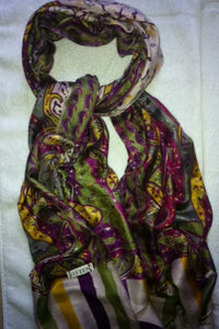 Multicolour silk & wool scarf