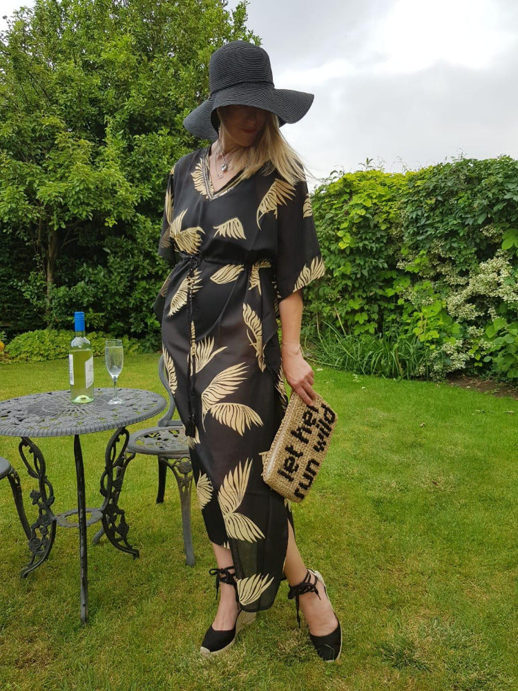 Sarmora Maxi Kaftan in Black and Gold Parlor Palm Print
