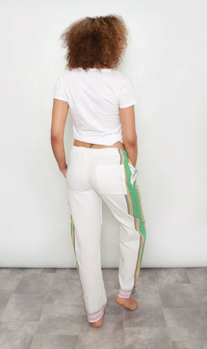 White Kenya Pants with Green Trim