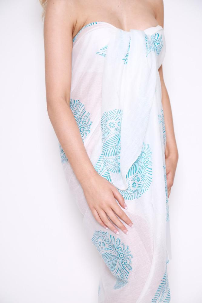 White with Blue Leaf Sarong