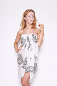 White with Black Leaf Beach Sarong