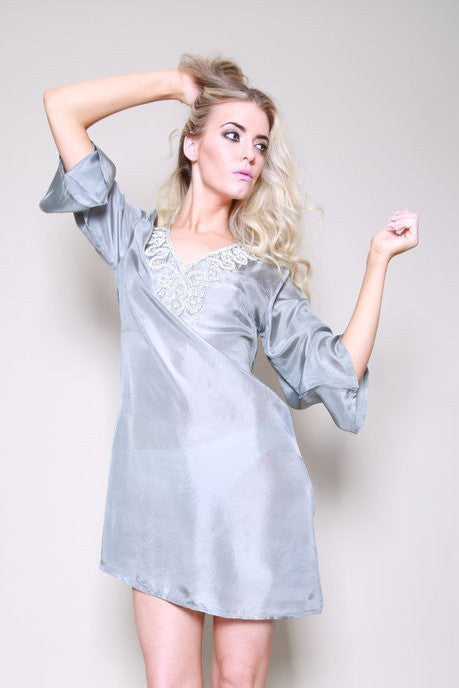 Raffles Silk Beaded Silver Grey Kaftan Shirt Dress