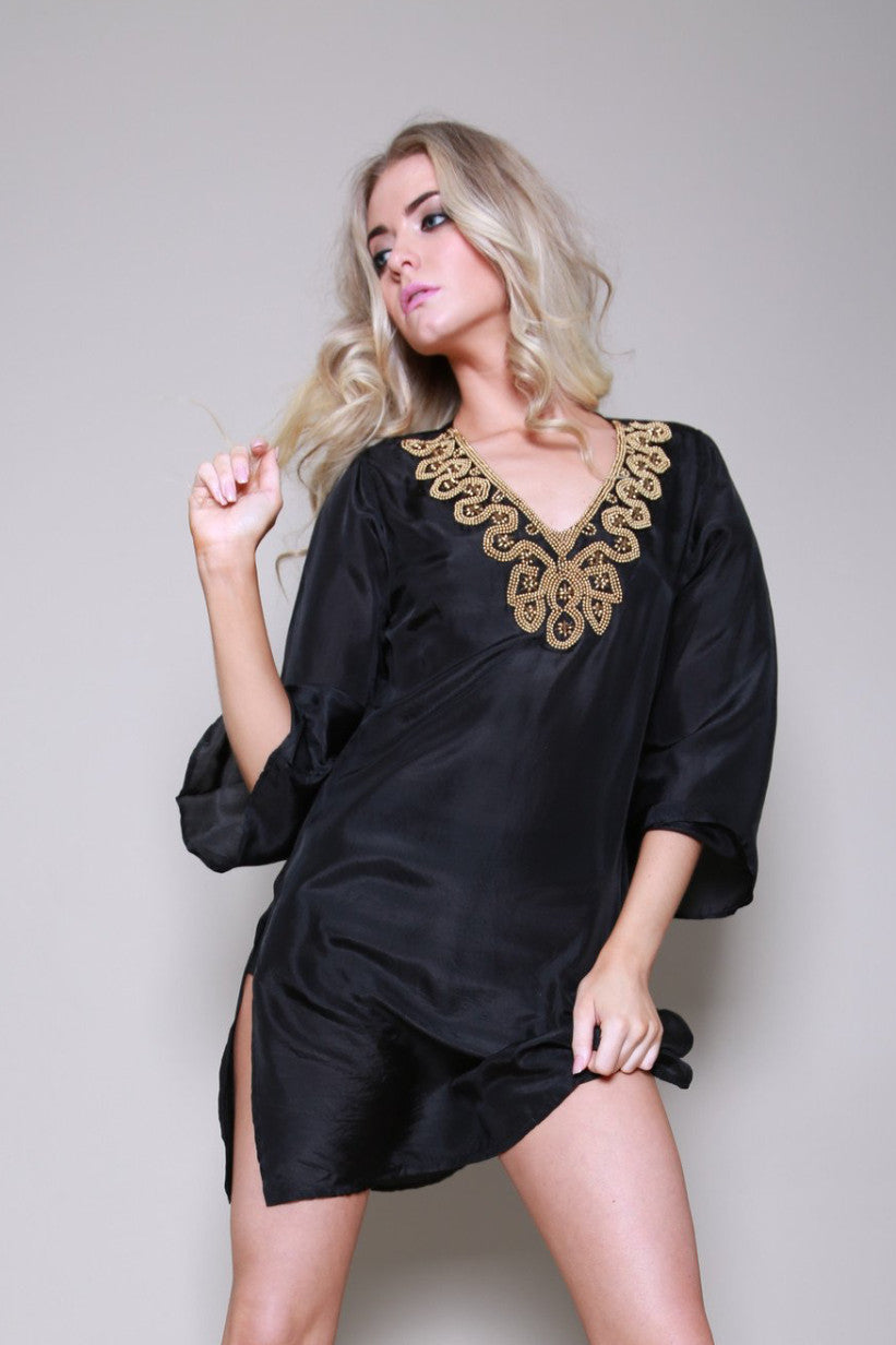 Jaipur Silk Beaded  Black Kaftan Shirt Dress