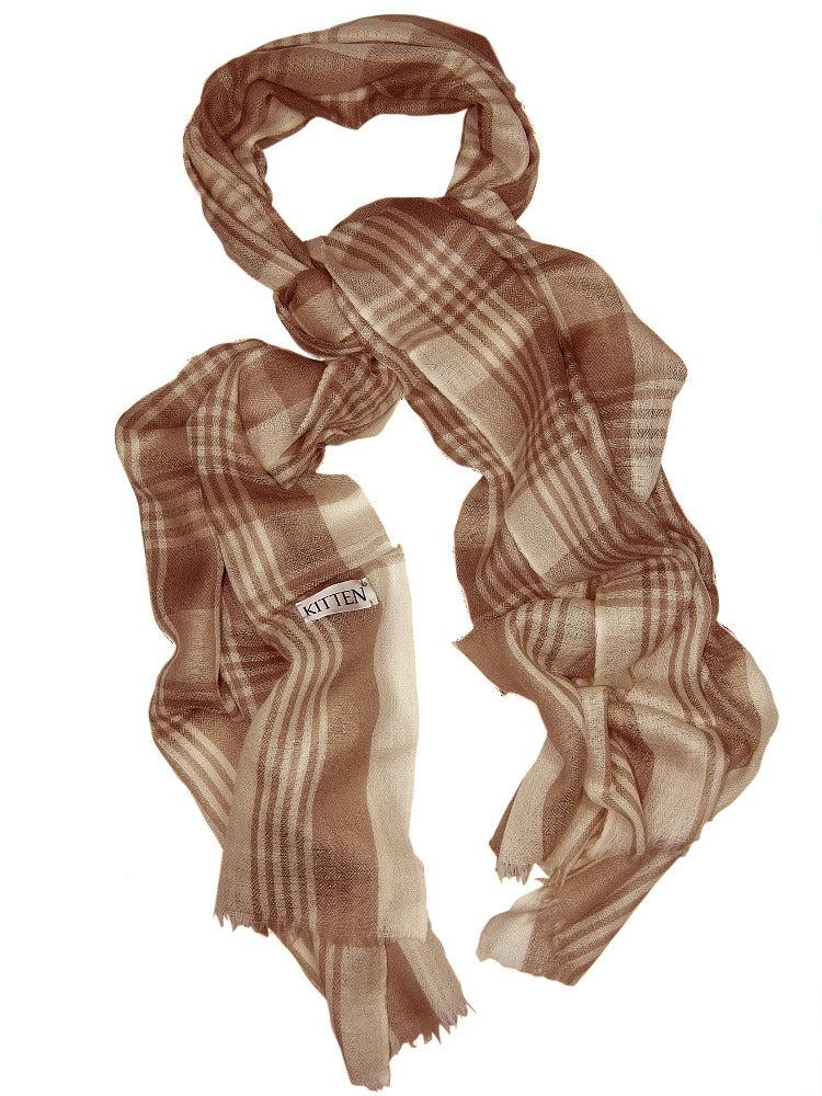 Ladies silk & wool check scarf