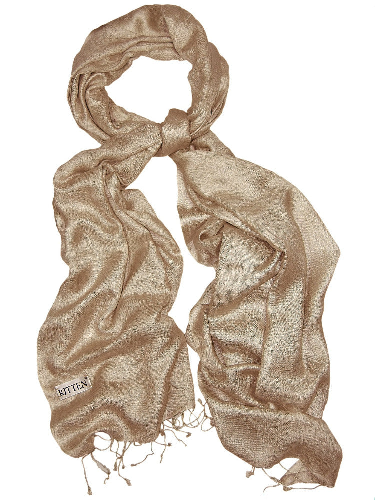 Coffee colour silk & wool scarf