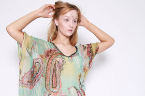 Guardalavaca Cuba Paisley Printed Sequinned Kaftan