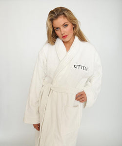 Classic white towelling bathrobe