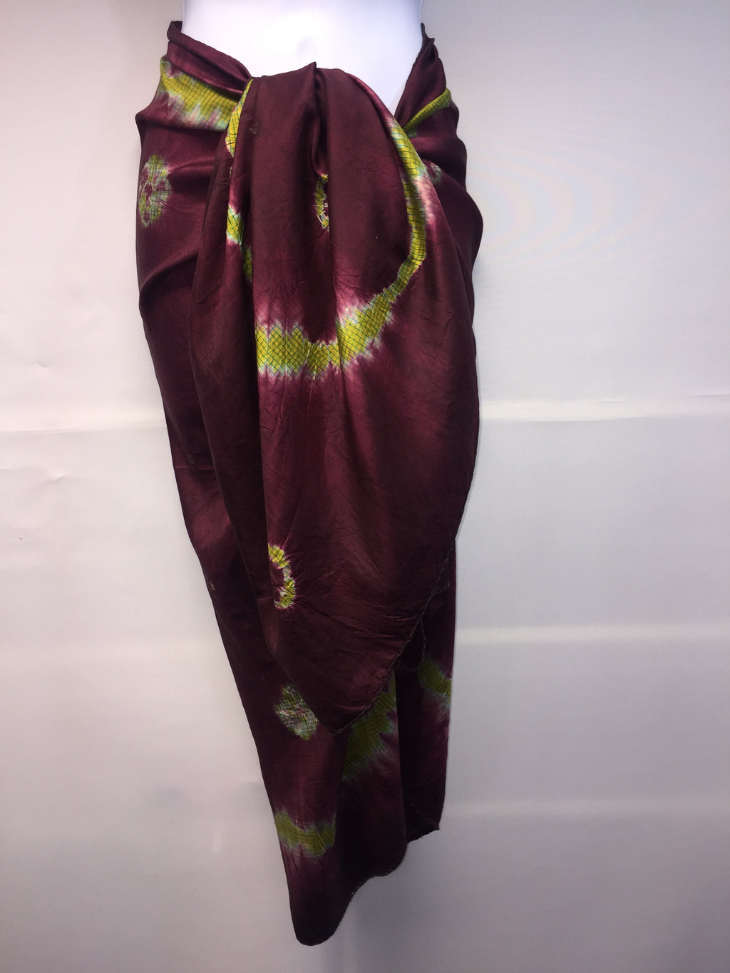 Fifi Burgundy and Lime Silk Sarong
