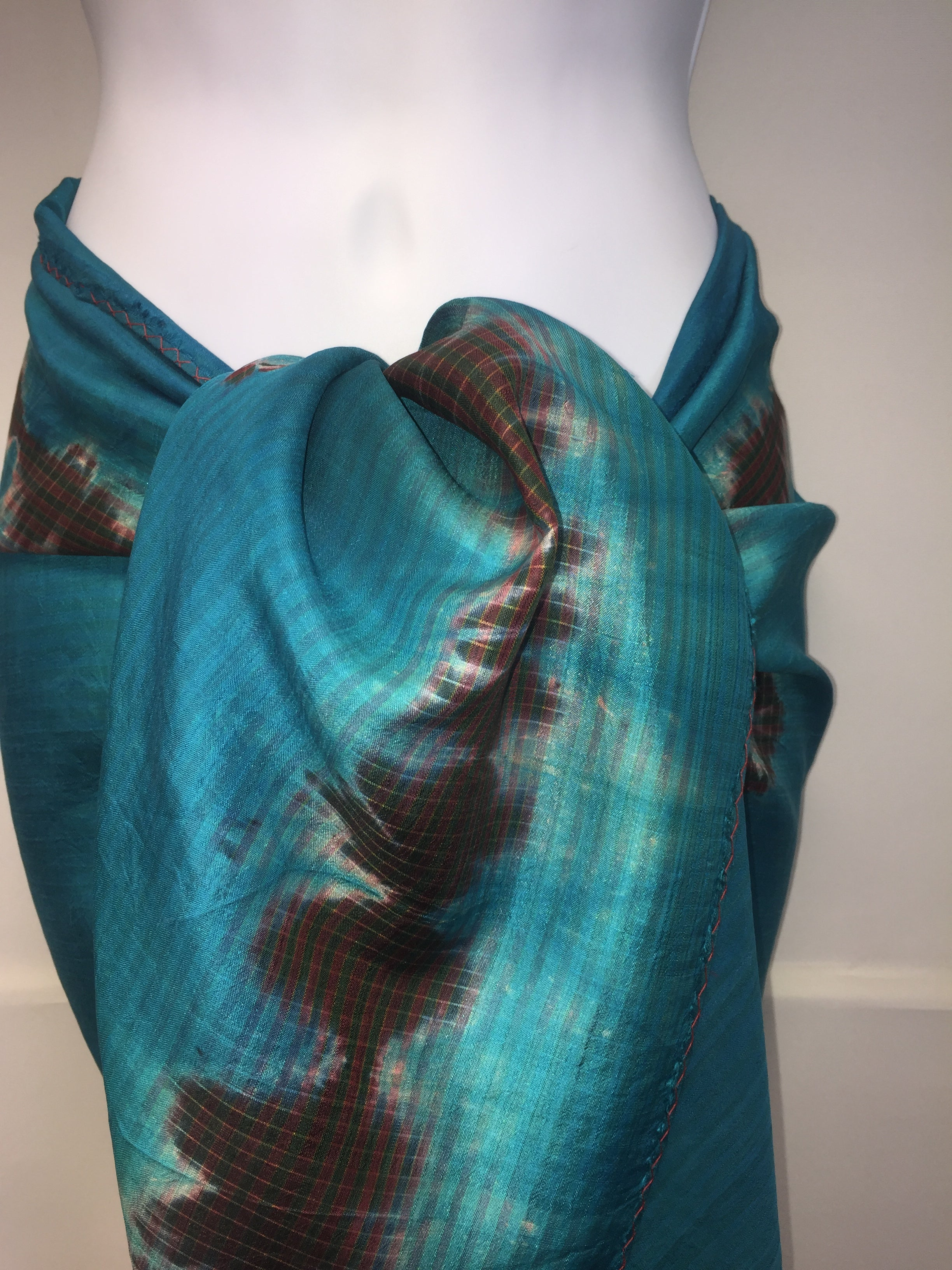 Khloe Turquoise with Brown Silk Sarong