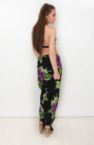 Black Sarong with Purple Flowers