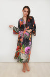 Rainforest Silk Maxi Kimono Robe In Black