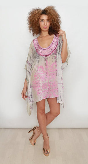 Savannah Sunset Pink Printed Kaftan