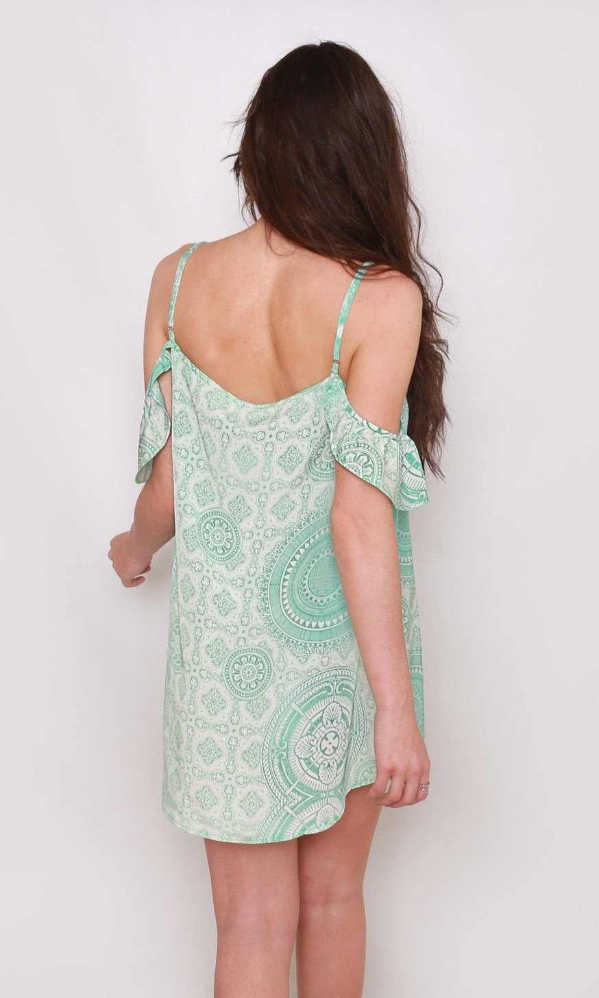 Hamsa and Om Cold Shoulder Mini Beach Dress