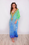 Giselle Blue and Green Printed Maxi Kaftan