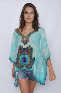 Hamsa and Om Swarovski Silk Kaftan Top