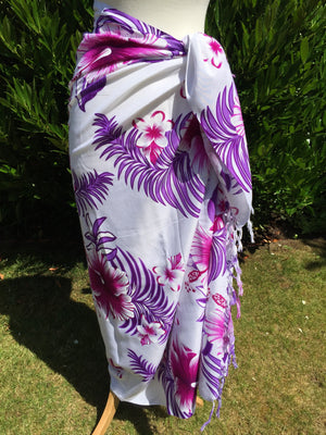 Purple Flower Printed Sarong