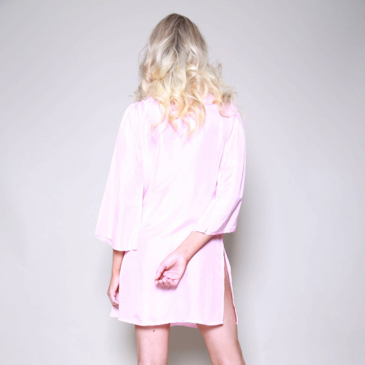 Cuba Silk Beaded Pink Kaftan Shirt Dress
