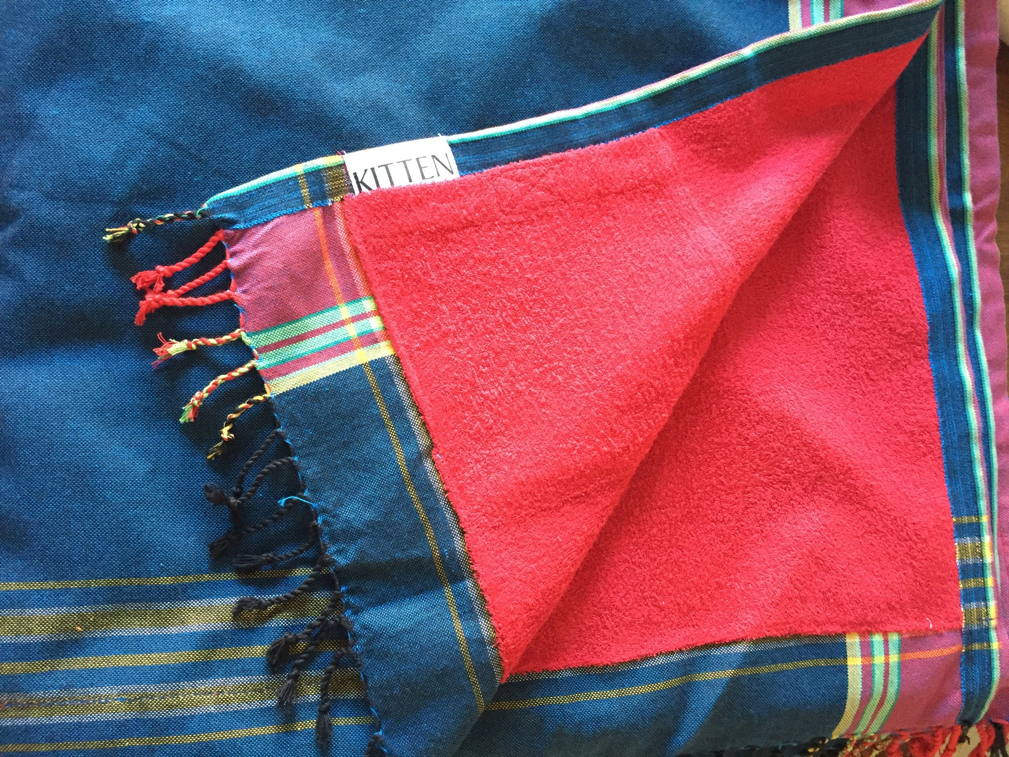 Kikoy Towel in Denim & Red