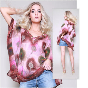 India Peacock Feather Printed Kaftan Top