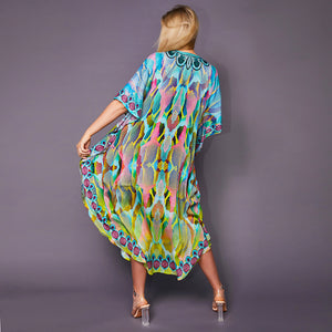Kitten Beachwear Gigi Multicolour Maxi Kaftan