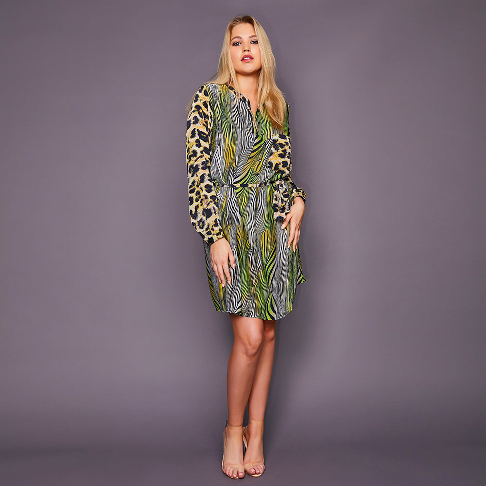 Kitten Beachwear Lulu Shirt Dress in Leopard and Green Tiger
