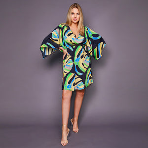 Kitten Beachwear Roma Kimono Dress in Black Palm Leaf