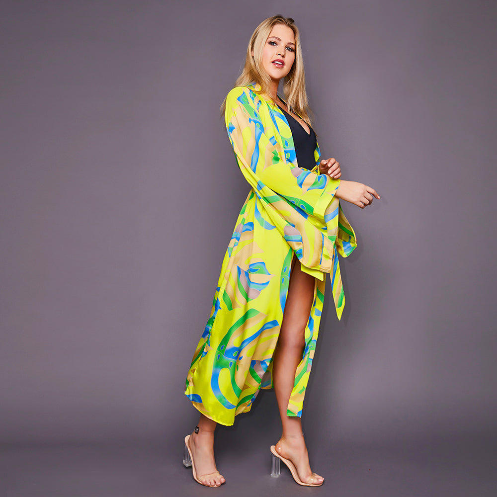 Kitten Beachwear Niko Japanese Maxi Kimono in Yellow Palm Print