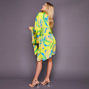 Kitten Beachwear Niko Japanese Kimono in Yellow Palm Print