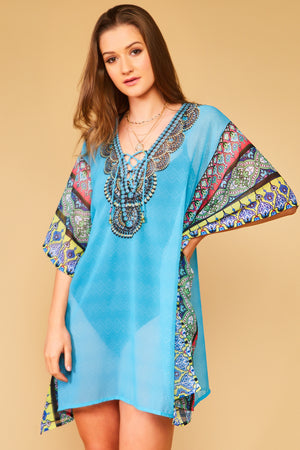 Mabel Sheer Blue Kaftan