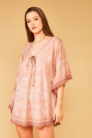 Balos V Neck Embroidered Kaftan in Hazelnut