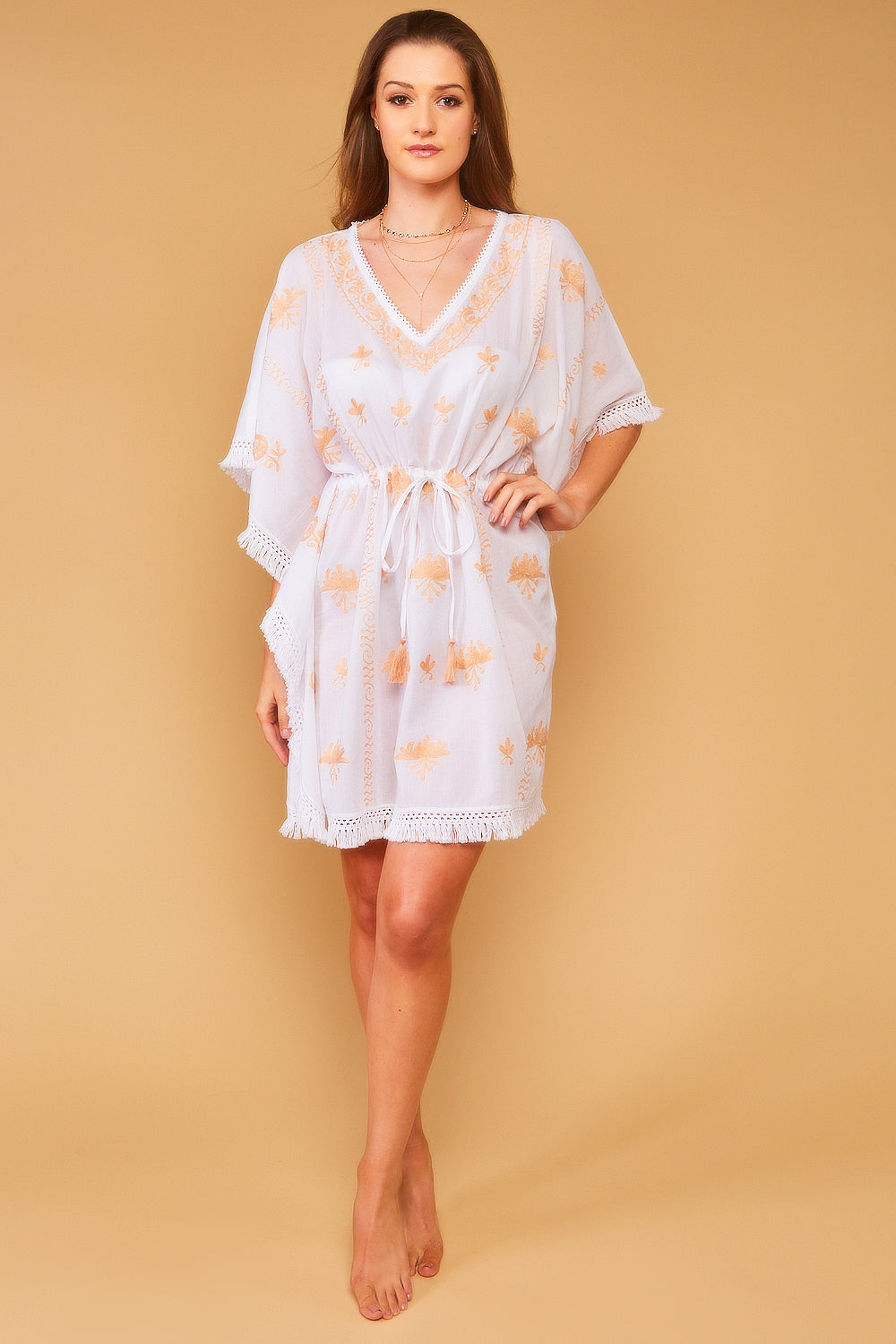 Mykonos Embroidered V-Neck Mini Kaftan in White with Sand
