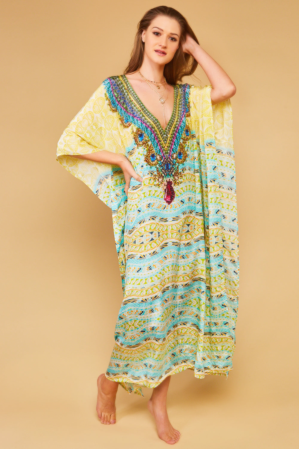 Limoncello V Neck Maxi Kaftan Dress