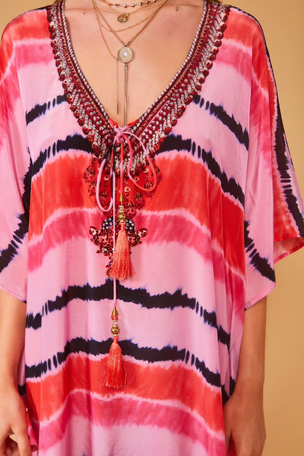 Hebe Kaftan in Pink with Tassels