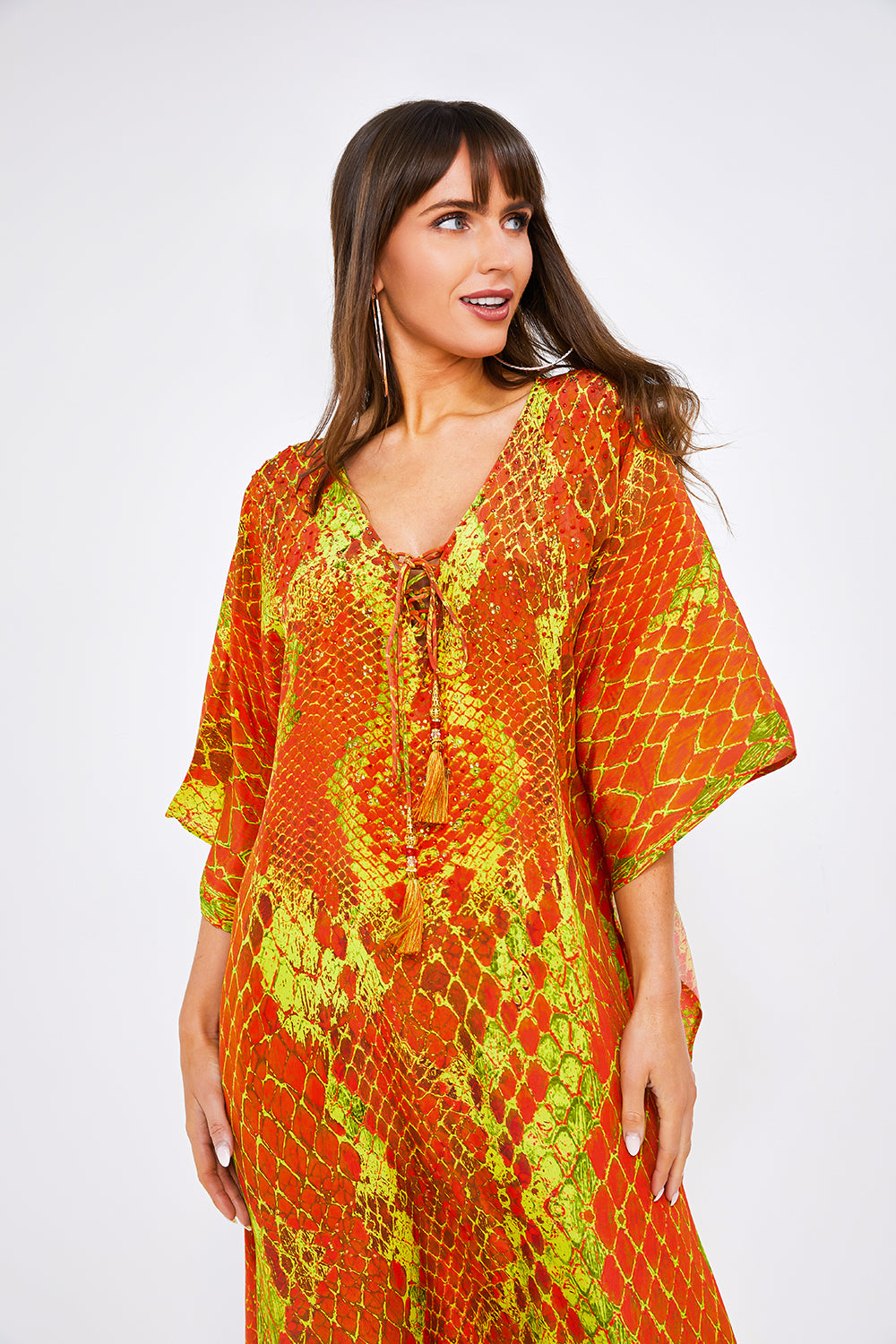Kaa Tassel Maxi Kaftan in Orange Python
