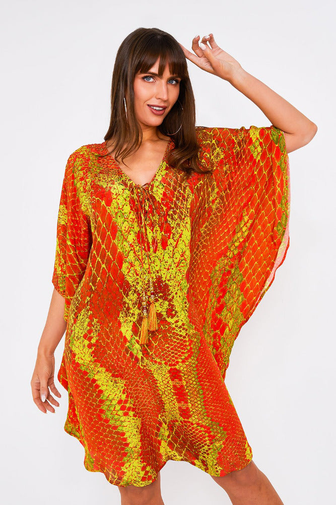 Kaa Tassel Kaftan in Orange Python